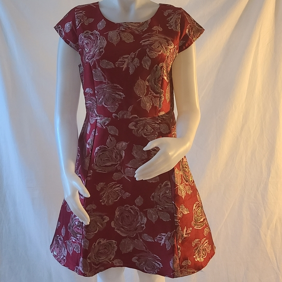 The Children's Place Floral Red Metallic Dress